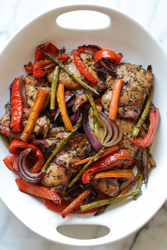 Balsamic Chicken With Roasted Vegetables Skinnytaste